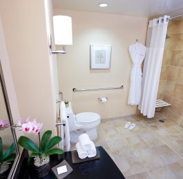Accessible bathroom with ADA compliant roll-in shower, grab bars, shower seat