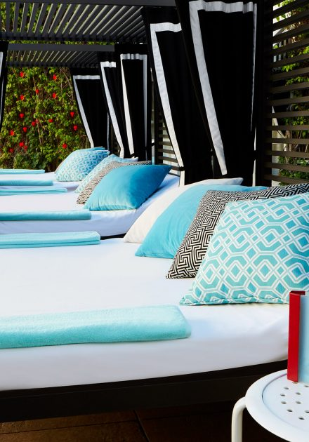 Poolside lounges at The Beverly Hilton